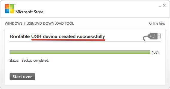 Установочная флешка готова Windows 7 USB DVD Download Tool