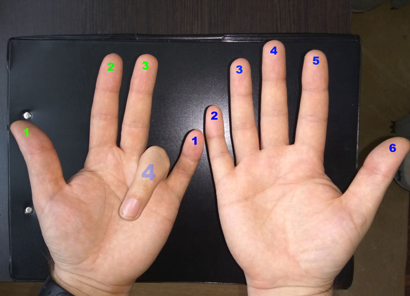 Умножение на пальцах 9 на 4